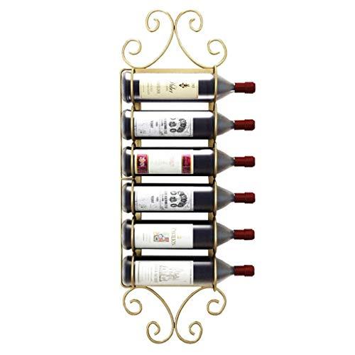 N\C ZSCC - Estante de almacenamiento para vino y champán, 6 botellas de vino dorado para colgar en la pared, estante de almacenamiento de vino para botellas de vino