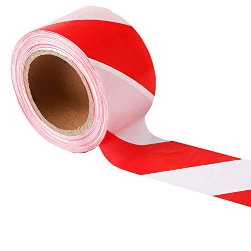 TopSoon Nastro Segnaletico Bianco e Rosso 70 mm x 200 m non Adesivo