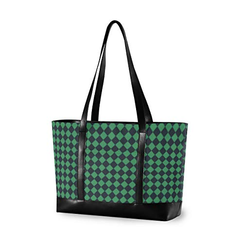 Vertical Grain Lattice Laptop Tote Bag with Laptop Compartment for up to 15.6 Inch MacBook Pro, Lightweight Women Shoulder Bag Stylish Handbag for Business Work College Travel Party Shop