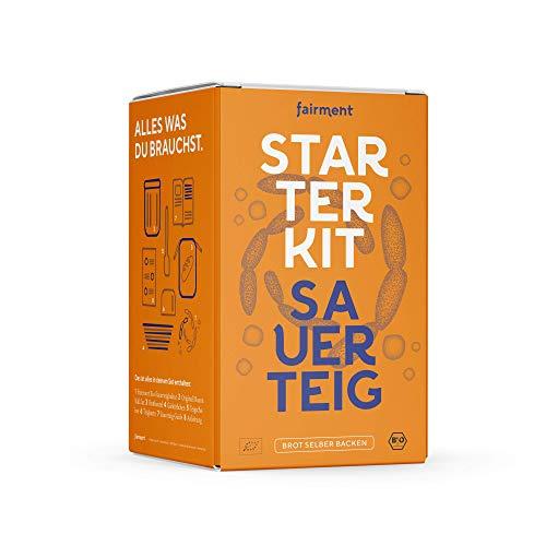 Sauerteig Starter Kit von fairment - Sauerteigbrot selber backen, inkl. Roggensauerteig Anstellgut (vegan, bio), Gärkörbchen, Teigschaber, Bäckerklinge, Gärglas, Anleitung, Rezepte