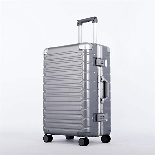 XIANGSHAN ABS + PC Material Simple Trolley Case, Stylish Super Storage Luggage Bag,Wheels Travel Rolling Boarding,20' 24' 26' (Color : Silver, Size : 24inch)