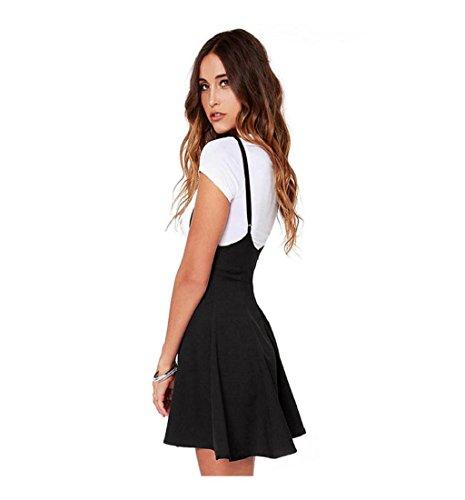 Rcool Frauen Mode schwarzen Rock mit Schulterriemen plissiert Mini Kleid Schwarz (XXL) - 2