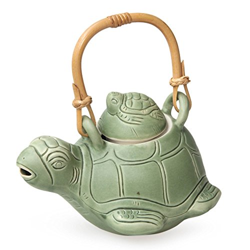 NOVICA Sea Turtle Mother And Child Ocean Life Green Ceramic Teapot, 27 Oz, Turtle Mom'