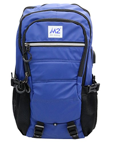 Outdoor Backpack Unisex Cycling Hiking Backpack Travel Lightweight Daypack USB Headphone Jack (Blue)