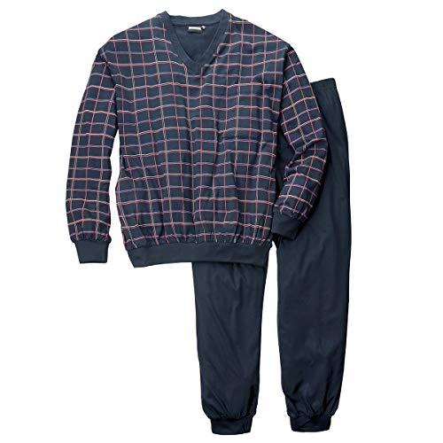 ADAMO Karierter Pyjama Navy V-Ausschnitt Übergröße, XL Größe:6XL