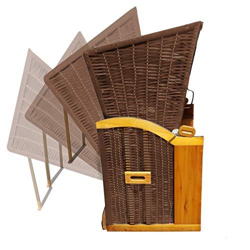 BRAST Strandkorb Ostsee 3-Sitzer 165cm breit Rot Beige gestreift XXL Volllieger incl. Schutzhülle Gartenliege Sonneninsel Poly-Rattan - 2