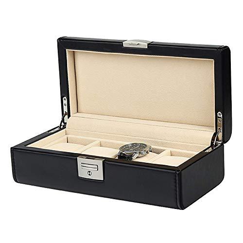 KDMB Caja de Reloj Caja de Reloj de 4 Ranuras Caja de exhibición de Soporte de Reloj de Cuero Negro de PU con Almohada de Reloj extraíble Forro de Terciopelo Cierre de Metal