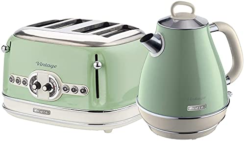 Ariete Breakfast Pack Ariete ARPK20 Retro Style Jug Kettle and 4 Slice Toaster Set, Vintage Design, Green