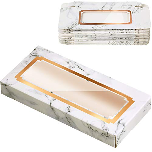 24 Pièces Emballage de Cils Vide Boîte à Cils en Papier Étui Porte-Cils Boîte à Cils à Conception de Marbre pour Soin de Faux Cils Outils Cosmétiques (4,39 x 2,10 x 0,61 Pouces, Blanc)