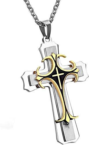 LAYX Acero Inoxidable religiosas de Mujeres de los Hombres Collar Colgante Grande Triple Cruz con 22' de la Cadena, Plata Oro