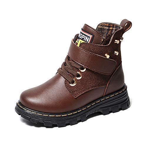 HUSTLE Botas de tobillo para bebés y niñas, impermeables, para invierno, cálidas, cómodas y cómodas, protegen los pies, fáciles de llevar, marrón, 33