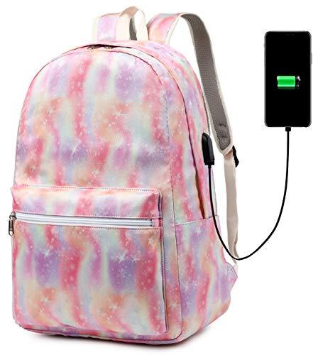School Backpack Girls Boys Rainbow Tie dye Bookbag College Laptop Backpack with USB Charging Port (strar)