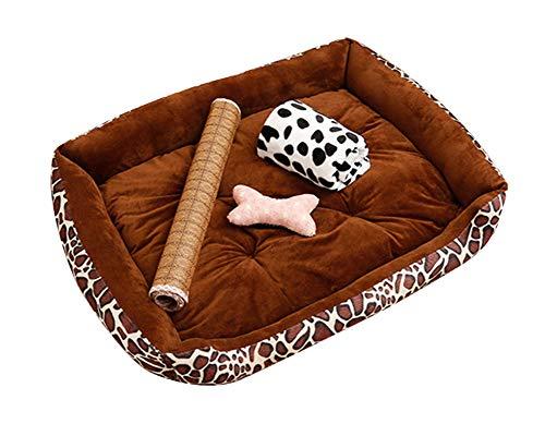 GUOCU Hundebett Hundebett mit Kissen und kuscheligem Plüsch für kleine und große Hunde Weich Futter Abnehmbar Reinigbar Braun Set XL