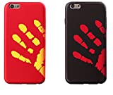 Thermal Sensor Compatible with iPhone 7 Case iPhone 8 Case(4.7Inch) Magical Color Changing Thermal Sensor Fluorescent Thermal Heat Induction Scratch-Resistant Matte Back Case-Black+Red