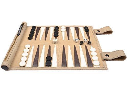 Sondergut- Backgammon - Echtleder Backgammon - Reise Backgammon - Das Original - Farbe:...