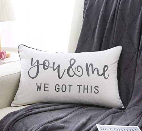 Sunkifover You & Me We Got This Decorative Throw Pillow Cover 12 X 20 Inch, Embroidery Lumbar Pillowcase Cushion Cover for New Home's,Bed,Sofa, Couch, Best Gifts for Girlfriend/Boyfriend, Grey