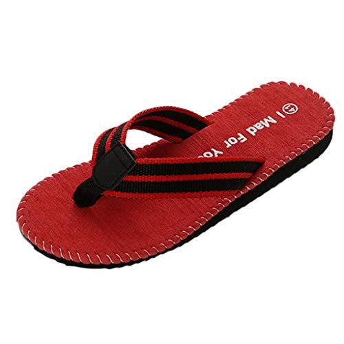 Beach Sandals, Men's Summer Beach Breathable Shoes Sandals Male Slipper Flip-Flops Flat Shoes, Red, US:9.5
