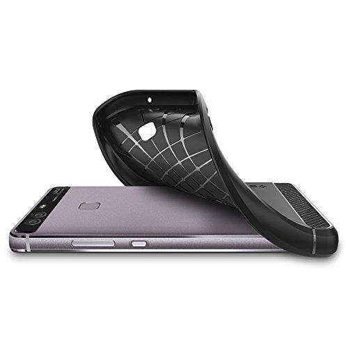 Spigen Huawei P9 Hülle, [Rugged Armor] Elastisch [Schwarz] Ultimative Schutz vor Stürzen und Stößen [Karbon Look] Schutzhülle für Huawei P9 Case, Huawei P9 Cover Black (L06CS20376) - 5
