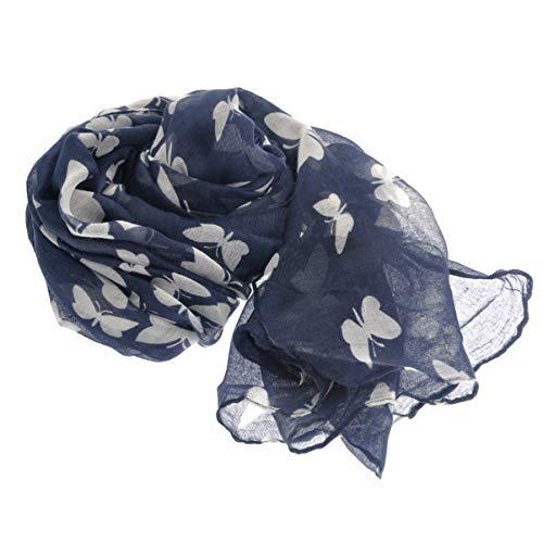 BESTOYARD Xale feminino quente longo com estampa de borboleta estilo francês inverno quente cachecol grande macio voile cachecol silenciador xale para mulheres 180 x 100 cm (azul marinho), Azul marinho, 180*100cm