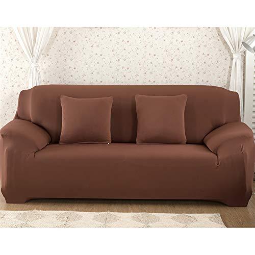 Fundas de color sólido liso Sofá cubierta de sofá Sofá Fundas para sala de estar cubierta de sofá Sofá Silla de toalla Sofá cubierta Sofá Funda ( Color : Brown , Specification : 3 seater 190 230cm )