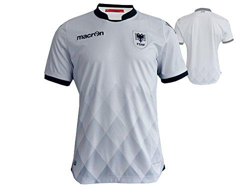 Macron Albanien Away Jersey M16 FSHF Auswärts Fußball Trikot weiß EM 2016 WM 2018 Qualifikation, Größe:XL