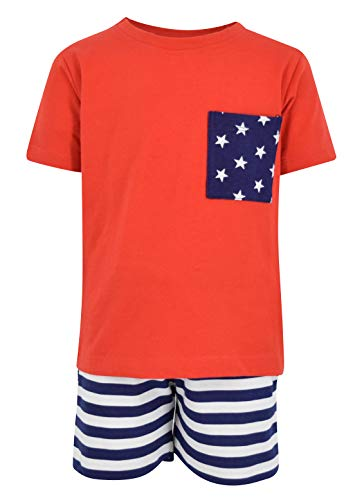 Unique Baby Boys Patriotic 4th of July 2-Piece Summer Outfit (6 Months, Red)