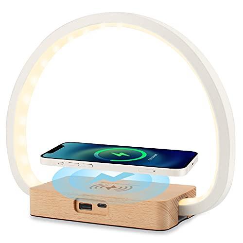 vitutech Lámpara de Mesita de Noche Regulable, Lámpara de Noche con cargador inalámbrico de 10 W y carga USB, 3 niveles de brillo luz Control Táctil lámpara de mesa para dormitorio estudio o oficina