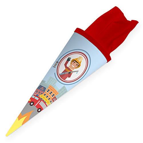 itenga Geschwisterschultüte 35cm für Kinder Geschenkverpackung Schultüte klein Kindergarten Zuckertüte (Feuerwehr)