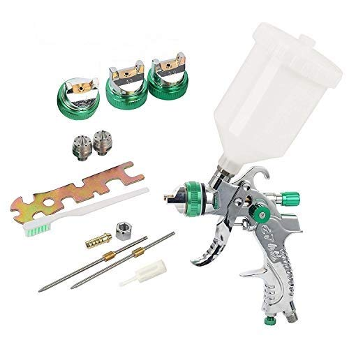 YaeTek HVLP Gravity Feed Air Spray Gun 3 Nozzles 1.4mm 1.7mm 2.0mm, Professional Air Paint Kits with 600cc Cup for Car Primer, Surface Painting, Coatings