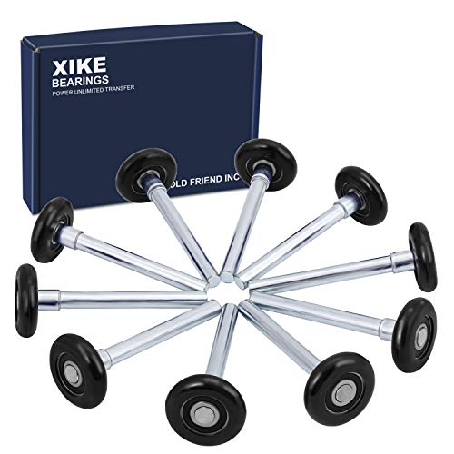 "XiKe 10 Pack Black 2"" Nylon Garage Door Roller 4"" Stem, Quiet/Durable and High Load, Use 6200-2RS Double Seals Precision Bearings."