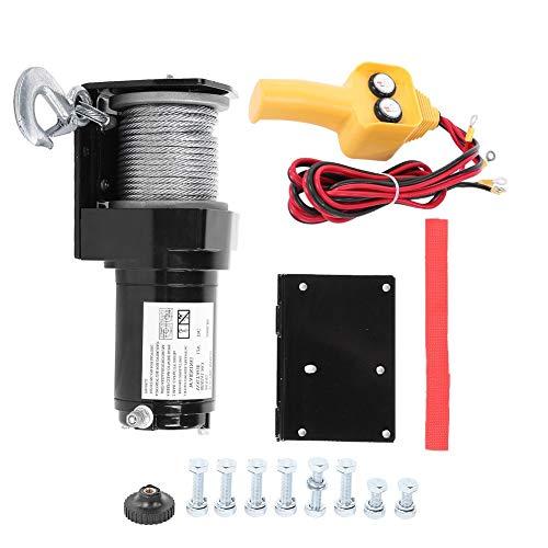 KIMISS Cabrestante de Techo de Cable, cabrestante eléctrico Silverling 12V 2000LB de Alta Resistencia, Remolque para Barco, Coche, ATV, Extractor cuádruple