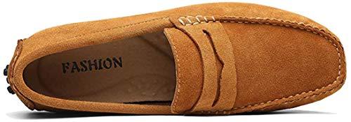 AARDIMI Herren Mokassins Bootsschuhe Wildleder Loafers Schuhe Flache Fahren Halbschuhe Beiläufig Slippers Hausschuh (42 EU, Z-braun)