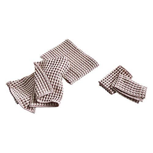 HAY Twist Geschirrtuch und Handtuch 4er Set, Burgund 2X 65x38cm 2X 29x29 cm