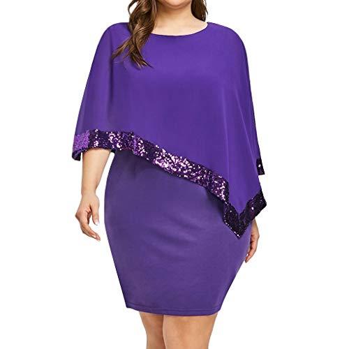 Janly Clearance Sale Vestido de noche de talla grande, para mujer, vestido asimétrico de gasa sin tirantes con hombros descubiertos, para discoteca, temporada de boda, dama de honor (púrpura-5XL)