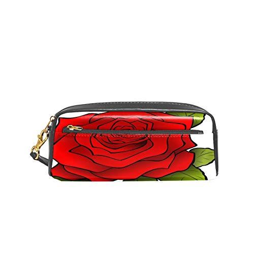 Estuche abstracto rojo rosa romántica de piel sintética con doble cremallera, bolsa organizada de gran capacidad, bolsa de maquillaje para adolescentes, niñas, niños y hombres