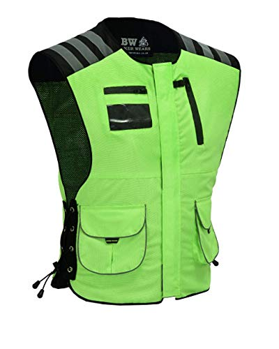 Chaleco de seguridad para hombre, reflectante, impermeable, para motocicleta, alta visibilidad, 2 bolsillos, amarillo L/XL