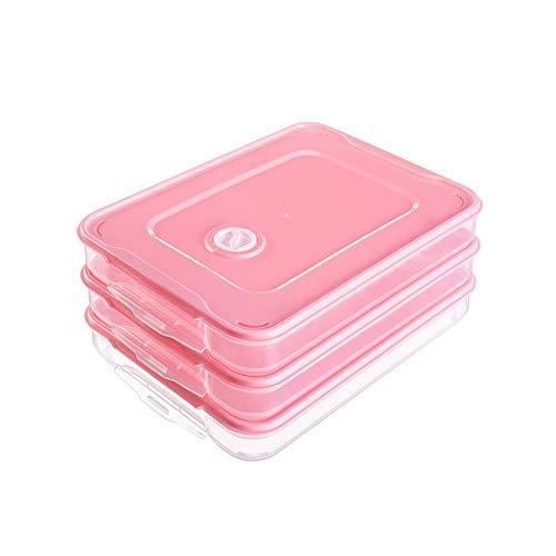 Rocita 1 Conjunto del rectángulo de 3 Capas de Almacenamiento de Alimentos Organizador Caja de Almacenamiento frigorífico Contenedores de Masa hervida con la Tapa y Mango de plástico de Color de Rosa