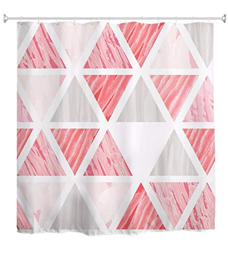 A.Monamour Acuarela Rosa Gris Piedra Textura Triángulo Patrón Geométrico Fondo Abstracto Impermeable Tela De Poliéster Cortina De Ducha para Baño Accesorios De Bañera 180x200cm