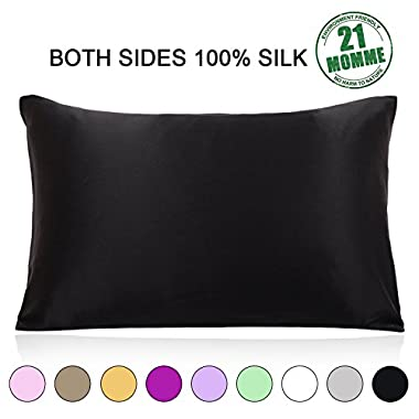 Ravmix 100% Pure Natural Mulberry Silk Pillowcase Standard Size, 21 Momme 600 Thread Count Hypoallergenic Both Sides for Hair Soft Breathable with Hidden Zipper (20×26 inches, Black)
