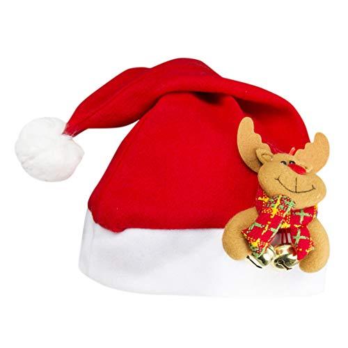 Heetey Gorro de Navidad para niños, Gorro de Primavera, Gorro Divertido, Fiesta, Papá Noel, Disfraz de Papá Noel, Campana, Gorro de Navidad, decoración navideña, Disfraz de Navidad c Talla única