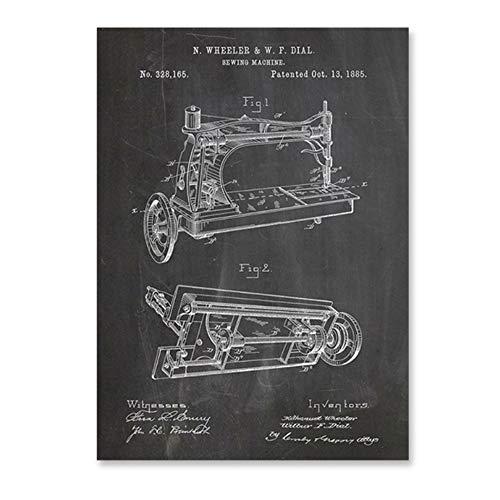 YANGMENGDAN Impresión sobre lienzo Máquina de coser Patentes Vintage Print Craft Room Wall Art Poster Decor, Antigua máquina de coser Lienzo Decoración de pared 40 x 60 cm