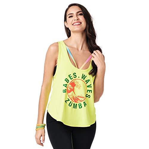 Zumba - Camiseta de tirantes sexy para mujer, diseño gráfico de espalda abierta, color amarillo 0, S