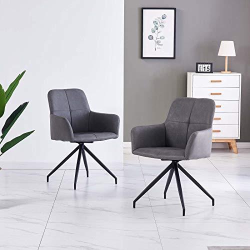 Esszimmerstühle 2er Set Wohnzimmerstuhl Kunstleder Bürostuhl Drehstuhl Bürosessel Chefsessel Armsessel Schreibtischstuhl (Grau)