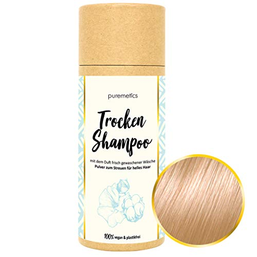 puremetics Zero Waste Trocken Shampoo für helles Haar (Cotton) 100{58d0a81f0bf12e95d1e49854b6eb909b459dbd3600f54b5a56b89f5770cb2577} natürlich, vegan & plastikfrei