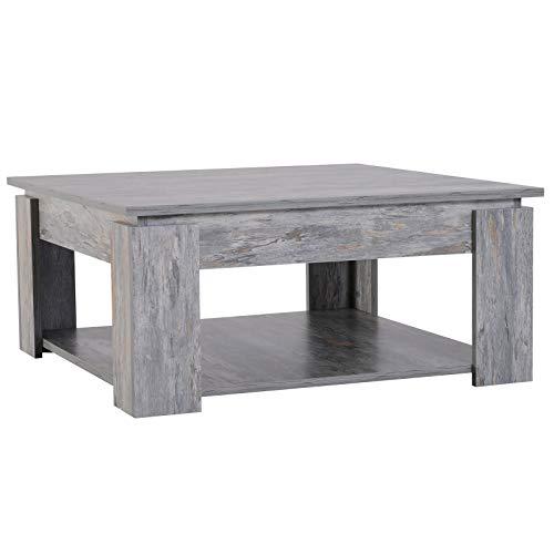 HOMCOM 2 Tier Wood Coffee Table Side Table Bottom Storage Shelf Simple Modern Living Room Grey Wood Grain