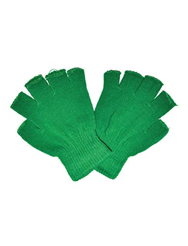 costumebakery - Kostüm Accessoires Zubehör Fingerlose Handschuhe, Gloves Fingerless, perfekt für Halloween Karneval und Fasching, Grün