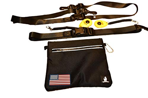 CLICKER TRAINING TREAT BAIT POUCH - STAY OPEN AND SHUT HINGE - BELT CLIP REMOVABLE WAIST STRAP - BAG INCLUDES 2 CLICKERS DOG FOR PETS PUPPY K9 CANINE HORSE BIRD CAT FERRET PROFESSIONAL OR NEW TRAINERS
