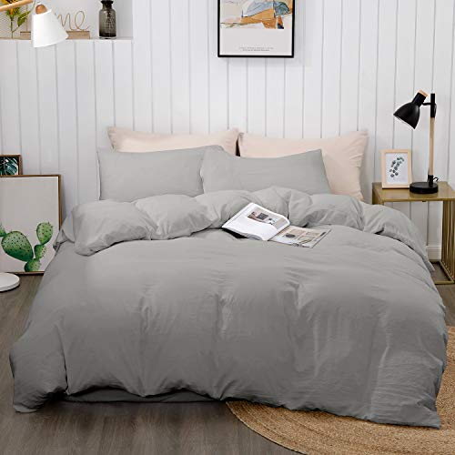 "BEDELITE Duvet Cover Full Queen Size, Grey Comforter Cover, Soft Hypoallergenic Microfiber Quilt Cover Queen, Duvet Cover with Zipper Closure 3 Piece (Full Queen Duvet Cover 90""x90""+ 2 Pillow Shams)"