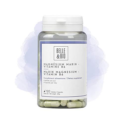 Belle&Bio Magnésium marin et Vitamine B6-120 gélules - Anti stress - Fabriqué en France, Beige, 120.0 unité