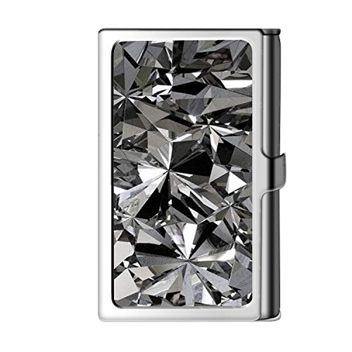 Porta tarjeta de visita con diseño astillado, caja de crédito con nombre de monedero de acero inoxidable para hombres y mujeres-Diamante